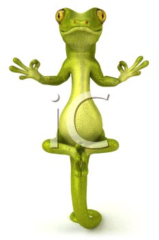 Royalty Free Clipart Image of a Gecko Meditating