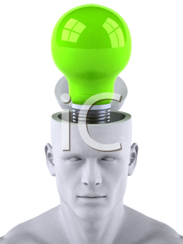 Royalty Free 3d Clipart Image of a Male Thinking About a Green Light Bulb