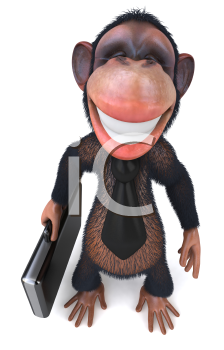 Royalty Free Clipart Image of a Monkey Businessman With a Briefcase