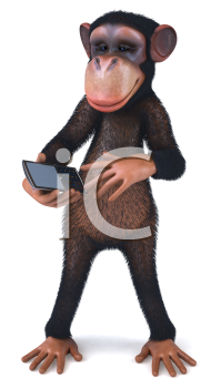 Royalty Free Clipart Image of a Monkey With a Cellphone