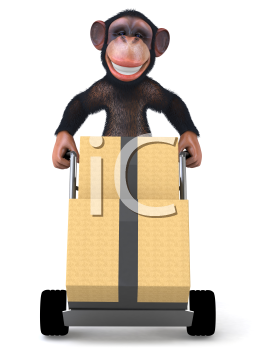 Royalty Free Clipart Image of a Monkey With a Moving Trolley