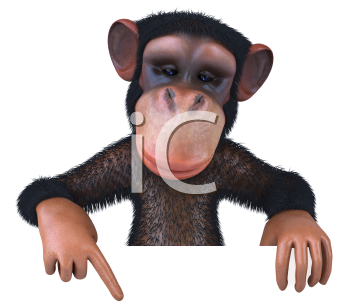 Royalty Free 3d Clipart Image of a Monkey Pointing to a Sign
