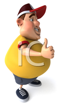 Royalty Free Clipart Image of an Overweight Man Giving a Thumbs Up