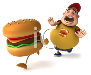 Royalty Free Clipart Image of an Overweight Man Chasing a Hamburger