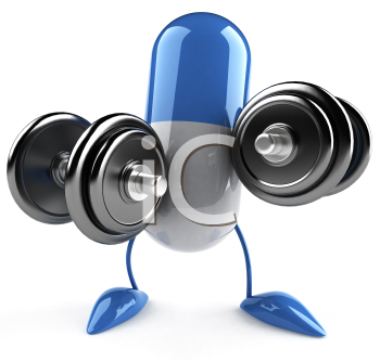 Royalty Free Clipart Image of a Capsule Lifting Weights