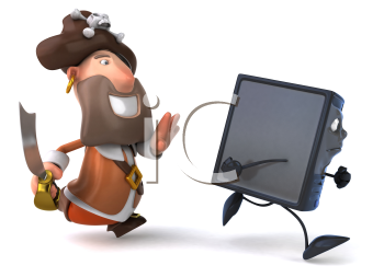 Royalty Free Clipart Image of a Pirate Chasing a Computer