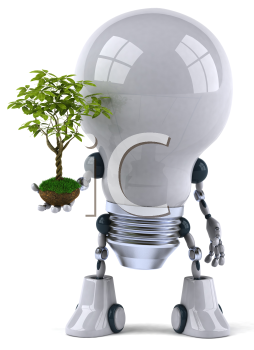 Royalty Free 3d Clipart Image of a Robot Lightbulb Holding a Plant