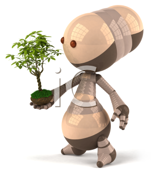 Royalty Free 3d Clipart Image of a Brown Robot Holding a Plant