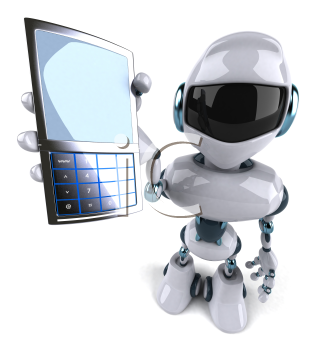Royalty Free Clipart Image of a Robot With a Cellphone