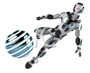 Royalty Free 3d Clipart Image of a Robot Kicking a Ball