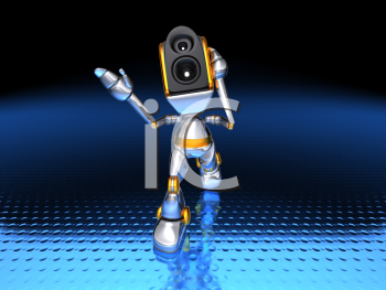 Royalty Free 3d Clipart Image of a Stereo Head Robot