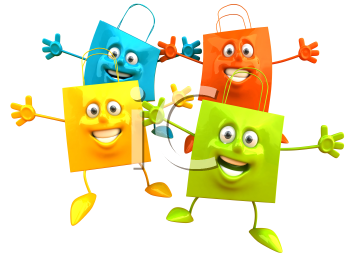 Royalty Free Clipart Image of Four Happy Gift Bags