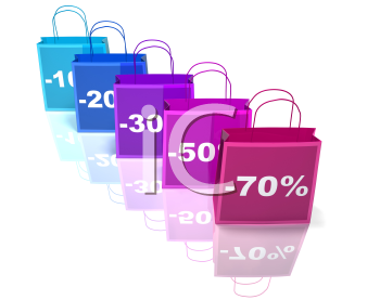 Royalty Free 3d Clipart Image of Shopping Bags with Percent Off Numbers on Them