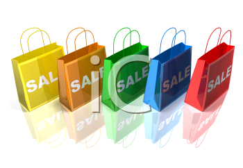 Royalty Free 3d Clipart Image of Shopping Bags with the Word Sale on Them