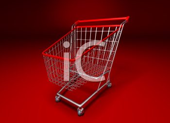 Royalty Free 3d Clipart Image of a Shopping Cart With a Red Background