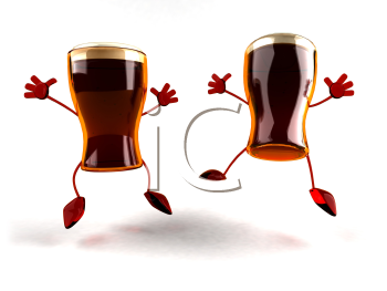 Royalty Free 3d Clipart Image of Beer Glass Characters Jumping