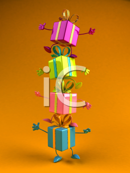 Royalty Free 3d Clipart Image of a Tower of Shiny Gifts
