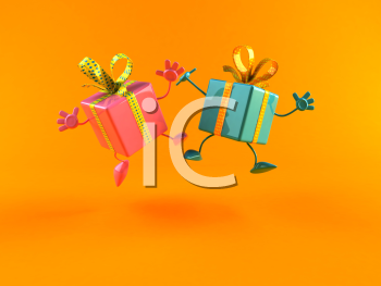Royalty Free 3d Clipart Image of Shiny Gifts