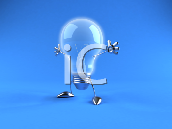 Royalty Free 3d Clipart Image of a Blue Light Bulb