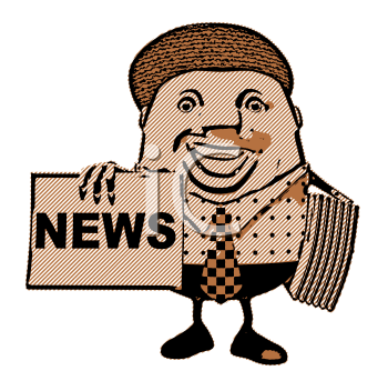 Royalty Free 3d Clipart Image of Newsman Holding a Newspaper