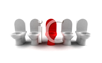 Royalty Free 3d Clipart Image of a Row of Toilets
