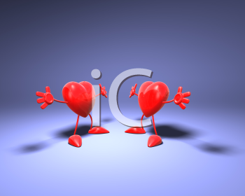 Royalty Free 3d Clipart Image of Two Hearts