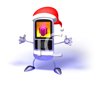 Royalty Free 3d Clipart Image of a Cell Phone Wearing a Santa Hat