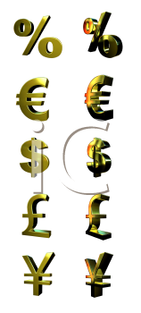 Royalty Free 3d Clipart Image of Money Symbols