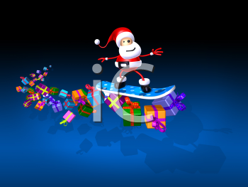 Royalty Free 3d Clipart Image of Santa Riding a Snowboard With a Trail of Presents