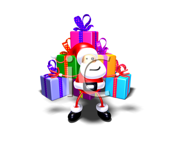 Royalty Free 3d Clipart Image of Santa Standing in Front of a Large Pyramid of Gifts