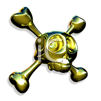 Royalty Free 3d Clipart Image of a Skull and Crossbones