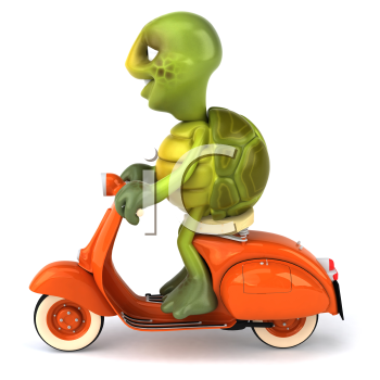 Royalty Free Clipart Image of a Turtle on a Scooter