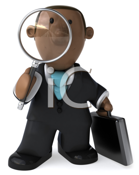 Royalty Free Clipart Image of a Black Businessman With a Briefcase