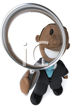 Royalty Free Clipart Image of a Black Man With a Magnifying Glass