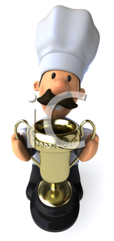 Royalty Free Clipart Image of a Chef With a Trophy