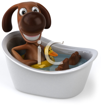 Royalty Free Clipart Image of a Dog in a Bathtub