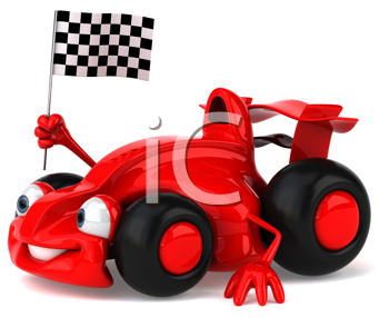 Royalty Free Clipart Image of a Car With a Checkered Flag