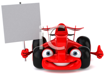 Royalty Free Clipart Image of a Racing Card With a Placard