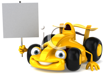 Royalty Free Clipart Image of a Racing Car With a Sign