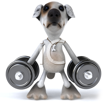 Royalty Free Clipart Image of a Dog With Weights