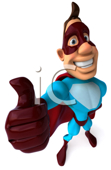 Royalty Free Clipart Image of a Superhero Giving a Thumbs Up