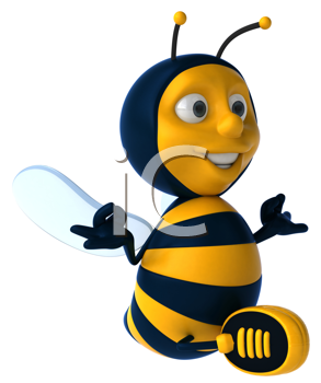 Royalty Free Clipart Image of a Meditating Bee