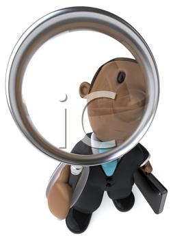 Royalty Free Clipart Image of a Businessman With a Magnifying Glass