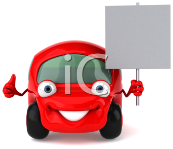 Royalty Free Clipart Image of a Red Car With a Sign