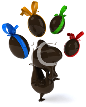 Royalty Free Clipart Image of a Chocolate Chicken Juggling Chocolate Eggs