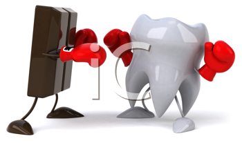 Royalty Free Clipart Image of a Tooth Fighting With Chocolate