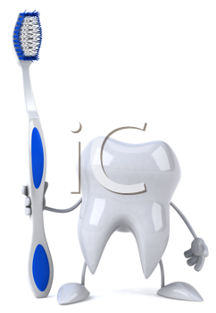 Royalty Free Clipart Image of a Tooth With a Toothbrush