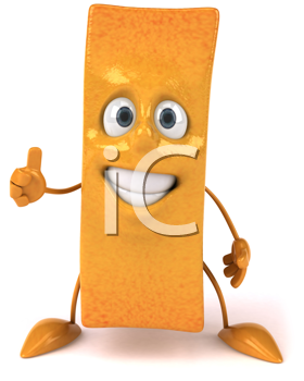 Royalty Free Clipart Image of a French Fry Giving a Thumbs Up