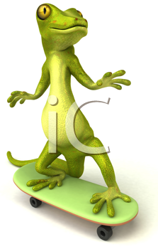Royalty Free Clipart Image of a Gecko on a Skateboard