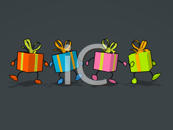 Royalty Free Clipart Image of Walking Presents